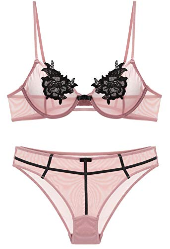 The victory of cupid Embroidery Rose Elegant Bra and Panty Sets 2 Piece Lingerie Sets Babydoll