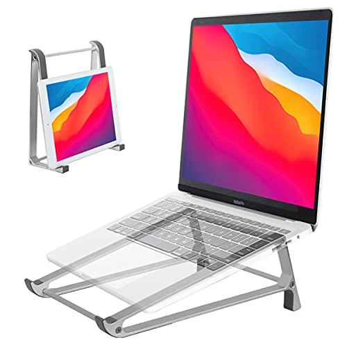 OYEYE Soporte para ordenador portátil, soporte aluminio ventilado para tableta, soporte para portátil, soporte ergonómico para Dell, XPS,HP, MacBook, iPad, Samsung Galaxy Tab,E-reader Kindle-gris