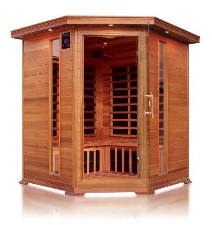 Sauna ad infrarossi a pannelli dicarbonio per 4 persone ad angolo per interno 150x150(165)x190h cm