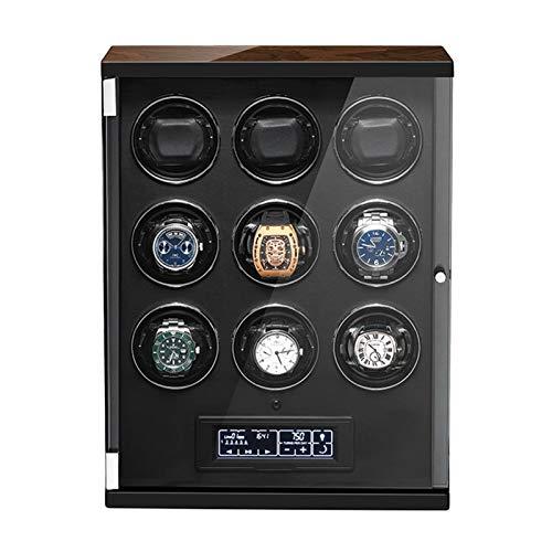 Cajón para guardar relojes y joyas Reloj automático Winder para 9 relojes Control remoto Panel táctil Pantalla de visualización de pantalla Ajustable Almohadas para hombres para hombres Regalo Estuche
