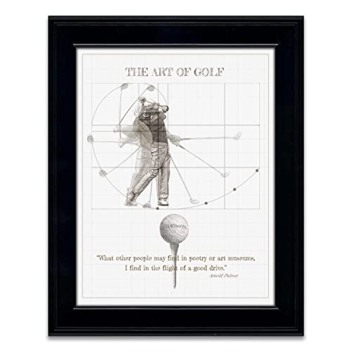 Art of Golf - Personalized Gift for Him, Father's Day, or an avid golfer. (14'x17' Framed Behind Glass, Vintage White)