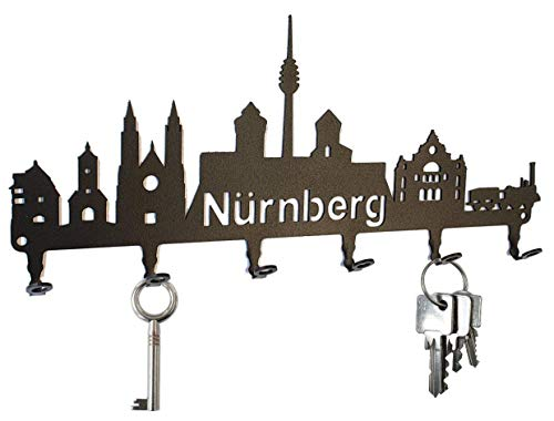 steelprint.de Schlüsselbrett/Hakenleiste * Skyline Nürnberg * - Schlüsselboard Bayern, Schlüsselleiste, Metall - 6 Haken