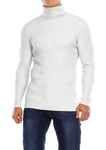 Yidarton Herren Pullover Strickpullover Rollkragen Slim Fit Männer Winter Basic Rollkragenpullover Langarmshirt Pulli (Weiß, Medium)