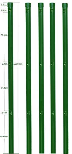 5 Zaunpfosten Ø 34 mm Zaunpfahl 2000mm lang als Pfosten für 1,5m hohen Metallzaun aus Maschendraht in grün RAL 6005. Zaunpfahl zum einbetonieren, mit 3 Halter für Spanndraht und Pfosten Kappe.…