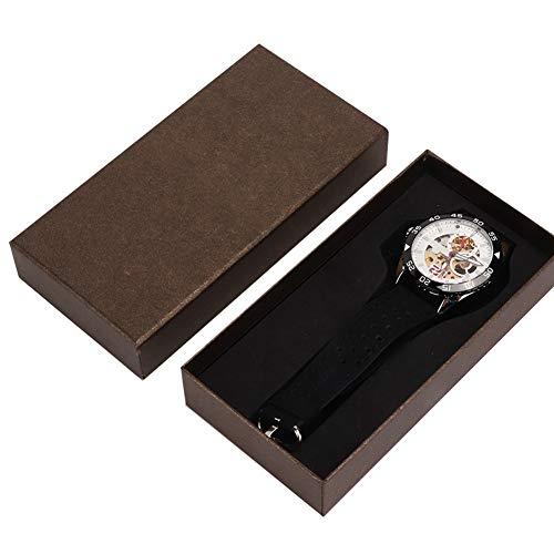 Reloj de pulsera para hombre, movimiento automático de cuerda automática Diseños de esfera esquelética Reloj de pulsera mecánico de metal con correa de 9,6 pulgadas, moda única para
