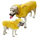 Pet Raincoat Packable Hooded Dog Rain Jacket Reflective Strips Lightweight Adjustable Poncho for Small Medium Large Dogs Yellow M