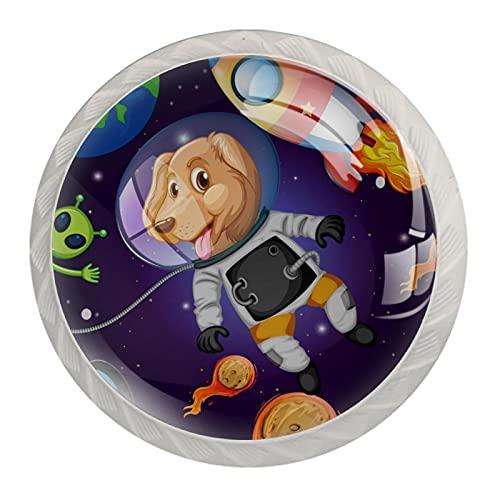 A Dog in Space Planet Alien Rocket, 4 unidades de pomos de ABS para aparador, cajones y cajones de cocina