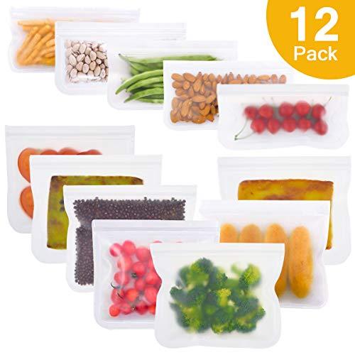 Maibtkey Wiederverwendbare Aufbewahrungs Beutel Extra Dicker Sandwich Snack Taschen Kühlschrank Beutel für Obst Gemüse Fleisch und Brot (12 Pack)
