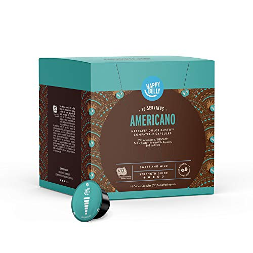 Marca Amazon - Happy Belly - Cápsulas de café Americano compatibles con NESCAFÉ® Dolce Gusto®, UTZ, 3x16 cápsulas (48 porciones)