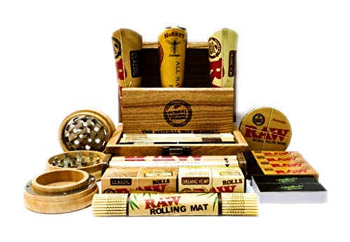 Straight Drive Brand 2 Rolling Tips & Raw Compact Wooden Rolling Box | Beautiful & Discreet Gift Set | with New Raw Black King Size Rolling Paper by MakBros