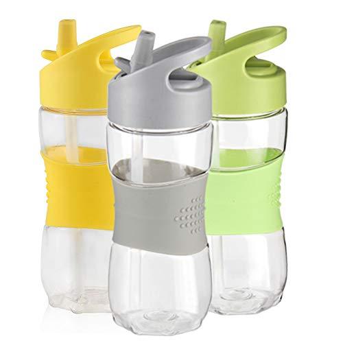 Sivaphe Trinkflaschen für Kinder Fahrrad Fussball, Student Wasserflasche Kunststoff bpa frei Radfahren,kohlensäure Getränk Flasche mit Henkel und Strohhalm auslaufsicher (Grau, 400ML)-MEHRWEG