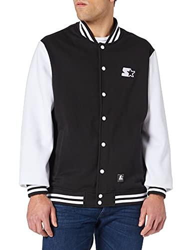 STARTER BLACK LABEL Jacke Starter College Fleece Jacket Giacca, Nero/Bianco, M Uomo