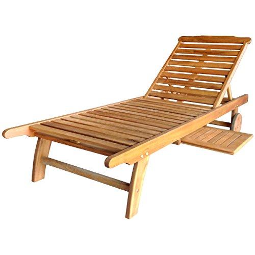 Charles Bentley FSC Acacia Garden Patio Wooden Sun Lounger