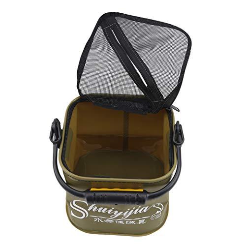 HBWHY Faltbarer Wassereimer Tragbarer Angeleimer Faltbarer Wasserbehälter für Fische Garnelen Outdoor Fishing Camping,Grün