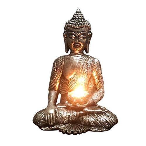 Amusingtao Portavelas de Buda Meditando Meditating Buddha Tea Light Holder Buda Estatua Candelabro para Terraza Jardín Decoración del Hogar Accesorio de Aromaterapia