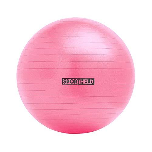 Sportheld® Profi Gymnastikball inkl. Fußpumpe zum Aufblasen | 65cm Durchmesser | Pink/Rosa | robuster Sitzball & Fitnessball