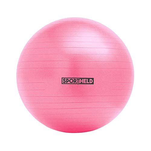 Sportheld® Profi Gymnastikball inkl. Fußpumpe zum Aufblasen   65cm Durchmesser   Pink/Rosa   robuster Sitzball & Fitnessball