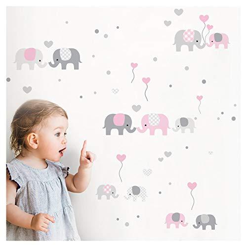 Little Deco Wandaufkleber Kinderzimmer Mädchen Elefanten Grau Rosa I Zwei A4 Bögen I Wandtattoo Deko Aufkleber Babyzimmer Wandsticker Sticker DL336