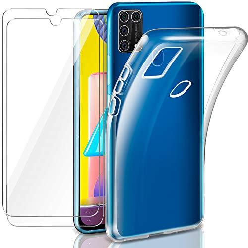 AROYI Hülle Kompatibel mit Galaxy M31 mit 2 Stück Panzerglas Schutzfolie, Durchsichtig Hülle Transparent Silikon TPU Schutzhülle 9H Festigkeit HD Panzerglasfolie Glas für Galaxy M31