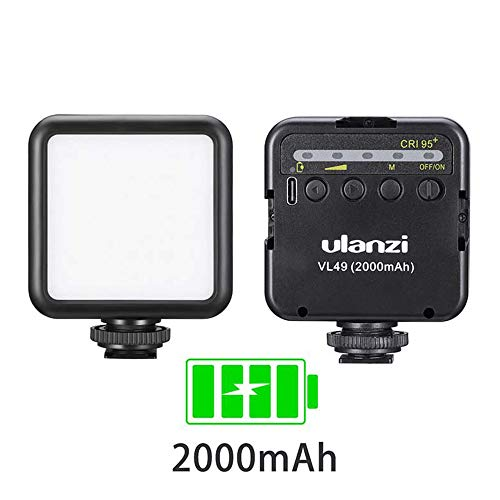 ULANZI VL49 2000mAh LED Video Light w 3 Cold Shoe, Rechargeable Soft Light Panel for DJI OSMO Mobile 3 Pocket Zhiyun Smooth 4 Sony RX100 VII Canon G7X Mark III A6400 6600 Camera GoPro 8 7 6 5 Vlogging