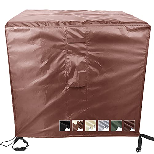 MEEYI copertura Impermeable para mesas Rectangular 87x87x77cm Funda para Mesa de jardín Impermeable para Muebles de jardín Conjuntos de Muebles Cubierta Resistente al Polvo-Café