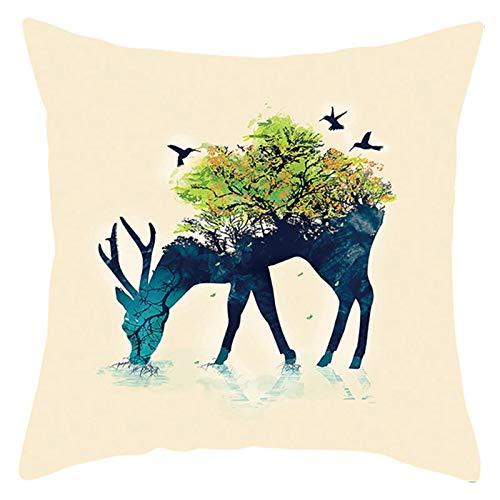 AtHomeShop 45 x 45 cm, funda de cojín decorativa en poliéster con diseño de ciervo, árbol, pájaro, suave, cuadrada, para sofá, dormitorio, oficina, sin relleno, color beige y verde, estilo 8