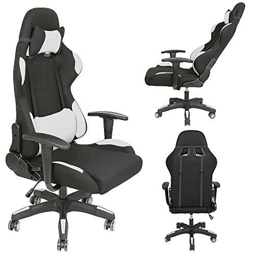 XUANYU Gaming-Stuhl mit Verstellbare Rückenlehne und 360 ° Drehbarer Chefsessel Bürostuhl Ergonomischer Stuhl, 3 Farbvarianten (Schwarz-blau)