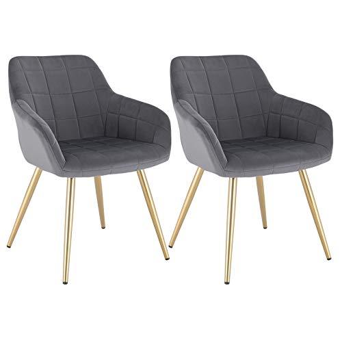 WOLTU® Esszimmerstühle BH232dgr-2 2er Set Küchenstuhl Polsterstuhl Wohnzimmerstuhl Sessel mit Armlehne, Sitzfläche aus Samt, Gold Beine aus Metall, Dunkelgrau