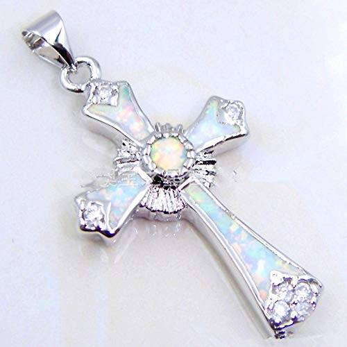 MNMXW Fashion Exquisite Religious Style Blue Opal Wedding Charm Cross Pendant Necklace-blue