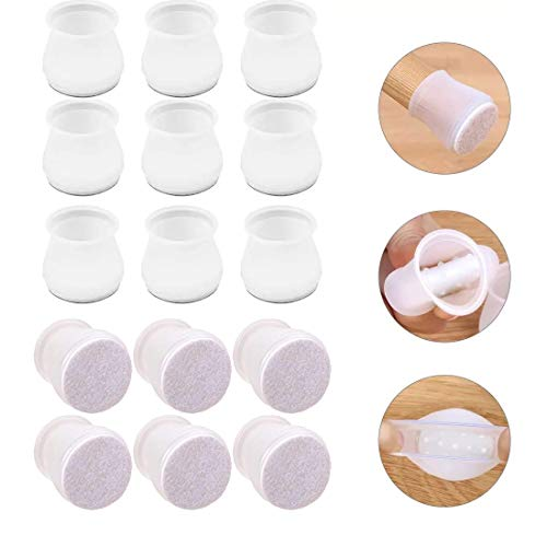 32Pcs Furniture Silicon Protection Cover with Felt Pad, Anti-slip Chair Leg Caps, Round Silicone Chair Leg Floor Protectors to Prevent Floor Scratches and Reduce Noise, Fits 1.37  to 1.5