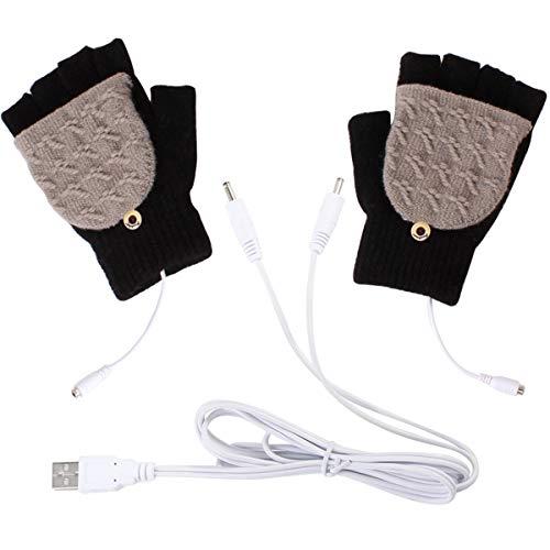Petyoung - Guanti unisex riscaldati mediante USB, invernali, con dita complete e metà dita, per lavorare al computer portatile, unisex, Nero