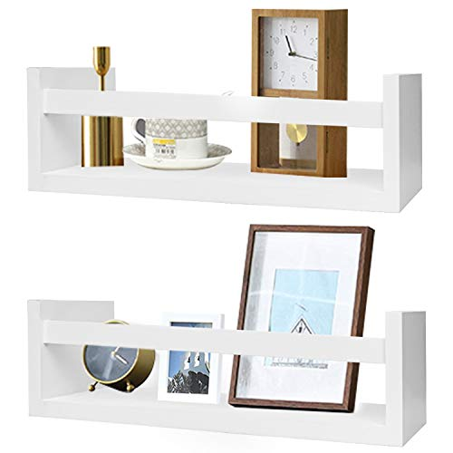 Foraineam Juego de 2 estantes flotantes de madera montados en la pared, estantes de almacenamiento de guardería, color blanco