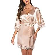 Avidlove Women Satin Kimono Robes Silk Short Bridesmaid Robe Lingerie Dressing Gown S-XXL