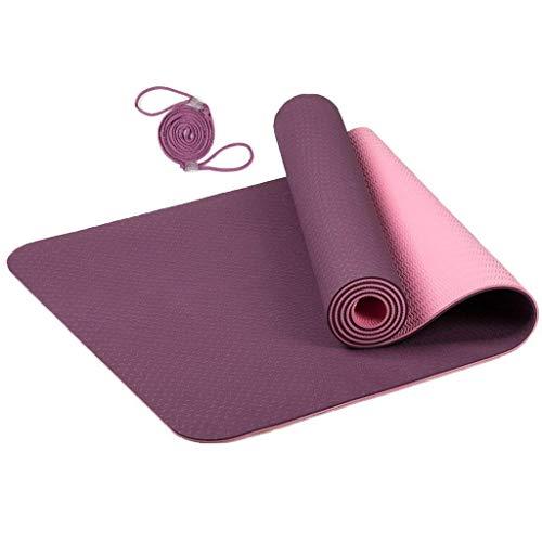 MaxDirect Colchoneta para Yoga, Pilates, Gimnasia de Material Ecológico TPE. Esterilla Antideslizante Muy Ligero de Grosor de 6mm, tamaño 183cm x 61cm. Morada