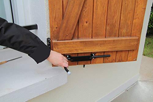 BLOQUE VOLET GAUCHE NOIR: Arrêt de volet avec poignée pour ouvrir et fermer facilement tous volets battants sans se pencher. Blocage des volets ouverts. Facilité et sécurité au quotidien. Côté gauche vue de l'intérieur. Volet ouvrant sur la gauche