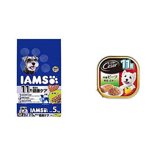 【セット買い】アイムス (IAMS) ドッグフード 11歳以上用 毎日の健康ケア 小粒 チキン シニア犬用 5kg & シーザー シニア犬用 11歳からの 吟選ビーフ 野菜・玄米入り 100g×24個 (まとめ買い) [ドッグフード・ウェット]