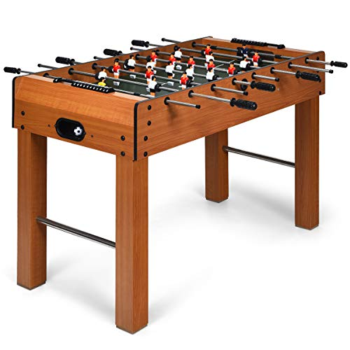 Review Giantex 48 Foosball Table, 8 Rods, 2 Balls and Score Keepers, Wooden Competition Soccer Game...