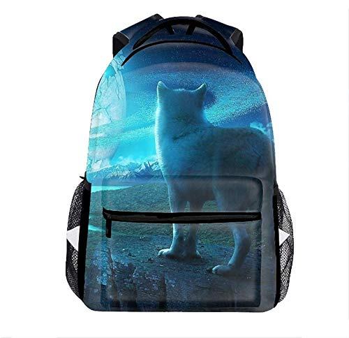 Lightweight Wolf Howling at The Moon Backpacks Bags GMY Bags