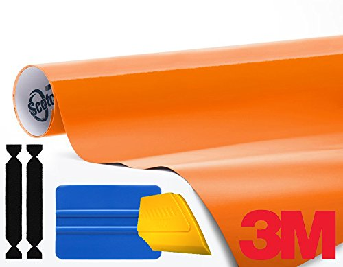 3M 1080 Gloss Bright Orange Air-Release Vinyl Wrap Roll Including Toolkit (2ft x 5ft)