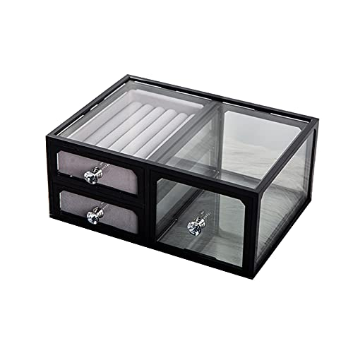 ZWL Caja De PresentacióN De Cristal Clara del CajóN del Vintage, Organizador del Almacenamiento De La JoyeríA del Top del Tocador,Negro