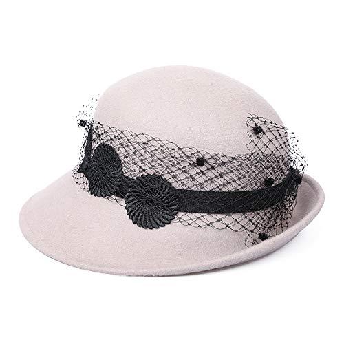 Sombrero para el Sol Sombrero para el Sol Ropa de Lana Casual Gorro de Rizo cálido Encaje Oveja Fieltro Sombrero Femenino