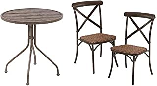 Better Homes & Gardens Camrose Farmhouse 1-Piece Patio Chat Table bundle with Better Homes & Gardens Camrose Farmhouse 2-Piece Patio Chair Set