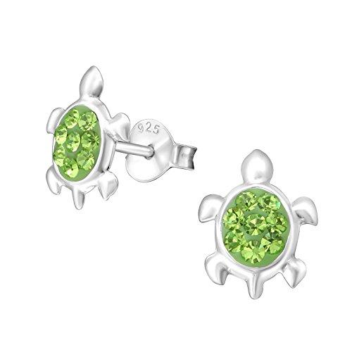 Laimons Pendientes infantiles para niña, diseño de tortuga, reptil, color verde brillante, de plata de ley 925