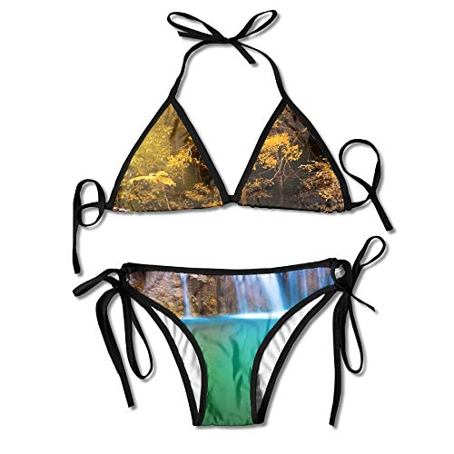 Women Erawan Waterfall In Thailand In Deep Forest with Sunbeam Printing Sexy Two-Piece Bikini Set Beach Bathing Suit