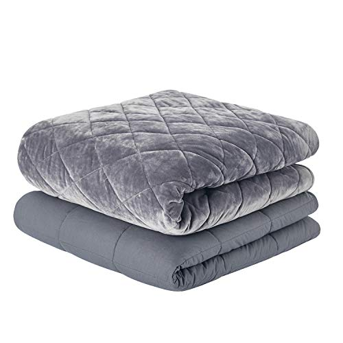 RelaxBlanket Premium Classic Weighted Blanket Deluxe Set | 100% Cotton Inner Weighted Blanket & Double Quilted Removable Cover Together | 60''x80'', 15lb | Dark Grey-Diamond