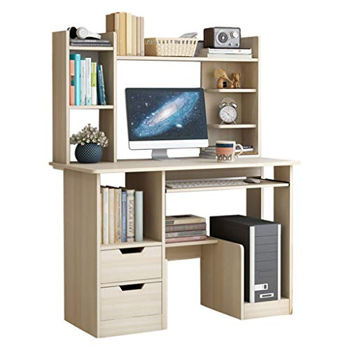 Home Office Desk Computer Desk with Bookshelf, Space-Saving Design Student Writing Table Study Table with Storage Bookcase, Modern Laptop Desk Gaming Desk Workstation for Bedroom Study Living Room