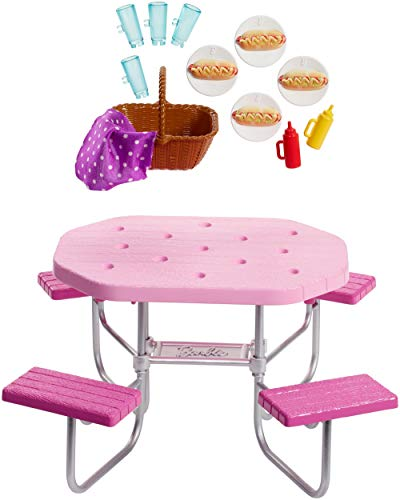 Barbie Outdoor Furniture, Pink Picnic Table with Adjustable Seats and Hot Dog Picnic for 4