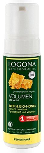 LOGONA Naturkosmetik Volumen Schaum Bier & Bio-Honig, Verleiht feinem, plattem Haar lebendige Sprungkraft, Optimales Volumen, 150ml