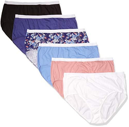 Just My Size Women's Plus Size Cool Comfort Cotton Brief 6-Pack, Assorted, 14
