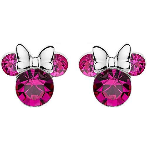 Disney - Pendientes de plata para niña con diseño de Mickey Mouse Minnie de octubre E905162ROCTL
